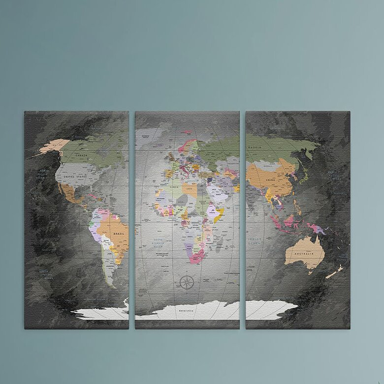 World Menagerie World Map 3 Piece Graphic Art On Canvas Set