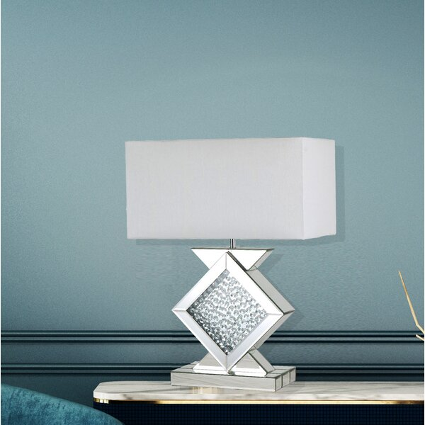 mercer41 glamorous mirror table lamp with floating crystal