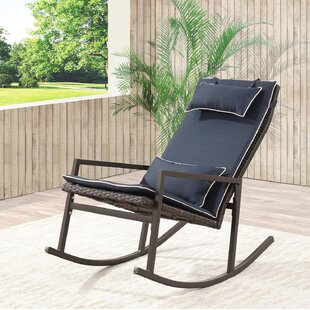 Attractive Tremberth Outdoor Rattan Wicker Rocking Chair With Cushion