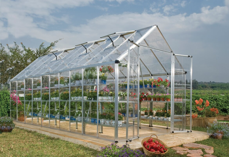 palram snap u0026 grow 8 ft w x 20 ft d greenhouse u0026 reviews wayfair