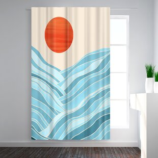 Modern Tropical Waves Like Mountains Abstract Blackout Rod Pocket Single Curtain Panel by East Urban Home