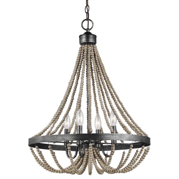 Bungalow Rose Hub 4 Light Candle Style Empire Chandelier With Beaded Accent Reviews Wayfair