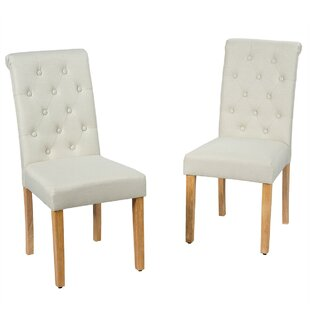 Tufted Linen Upholstered Tufted Back Side Chair in Gray Set of 2 by Red Barrel Studio