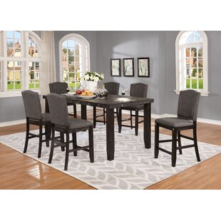Dyess 7 Piece Solid Wood Counter Height Dining Set