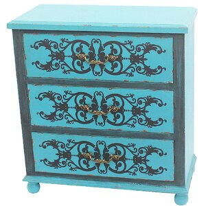 Painted Peacock Blue 3 Drawer Accent Chest