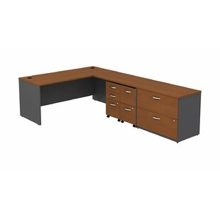 Series C L-Shape Executive Desk with Mobile Pedestal and Lateral File