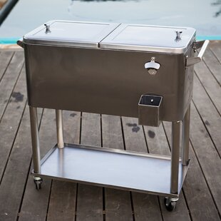 Delicieux 80 Qt. Stainless Steel Patio Rolling Cooler