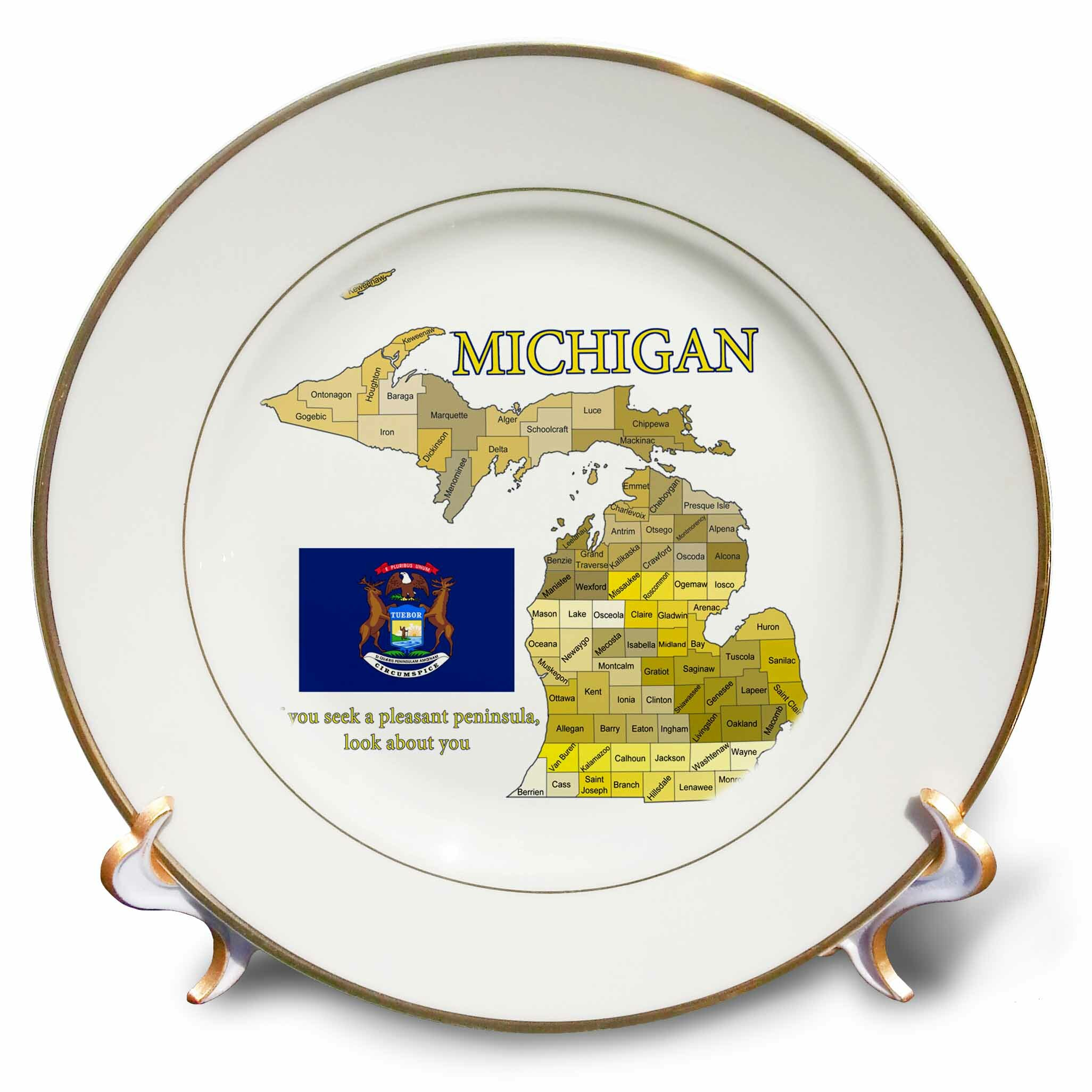 East Urban Home Flag Map And Motto Of Michigan With All Counties Labeled Porcelain Decorative Plate Wayfair
