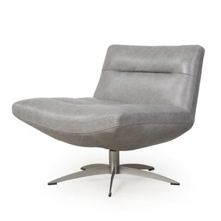 Taran Leather Swivel Slipper Chair by Orren Ellis
