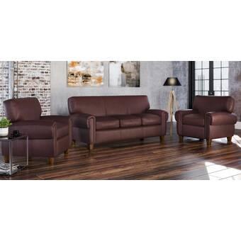 Westland And Birch Howard 3 Piece Leather Living Room Set Wayfair