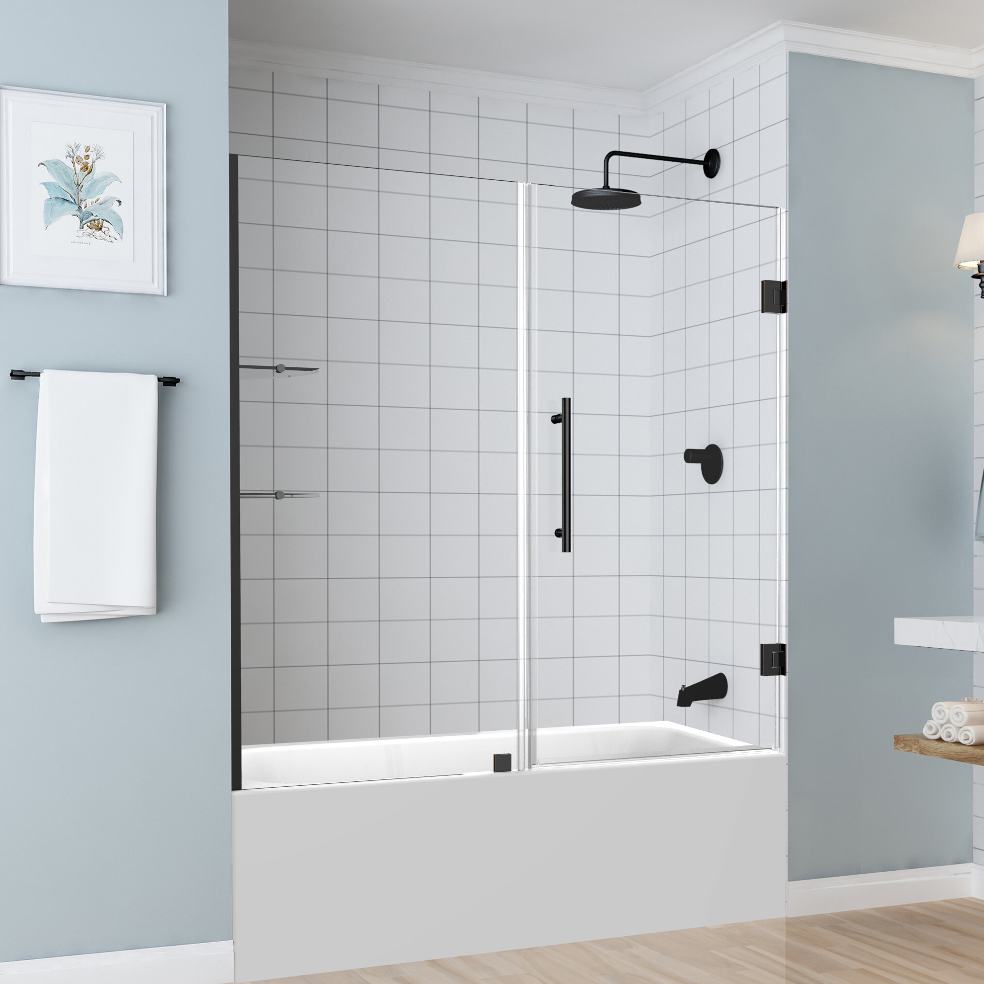 Coraline 60 X 60 Single Sliding Frameless Tub Door