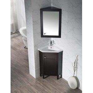 millard 2425 single corner bathroom vanity set with mirror