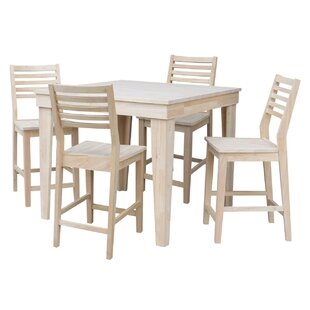 Theodosia 5 Piece Pub Table Set Highland Dunes