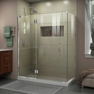 DreamLine Unidoor-X 57 1/2 in. W x 34 3/8 in. D x 72 in. H Frameless Hinged Shower Enclosure