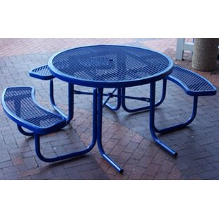 3-Seat ADA Round Picnic Set with Diamond Pattern