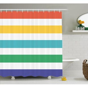 Valoria Rainbow Kids Pattern Shower Curtain By Rosecliff Heights
