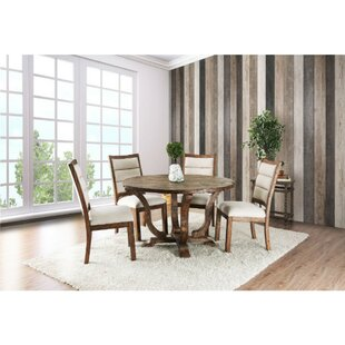 Dufresne Rustic Round 5 Piece Solid Wood Dining Set