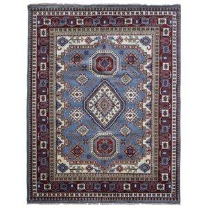 Furiani Kazak Hand-Woven Wool Blue/Red Area Rug