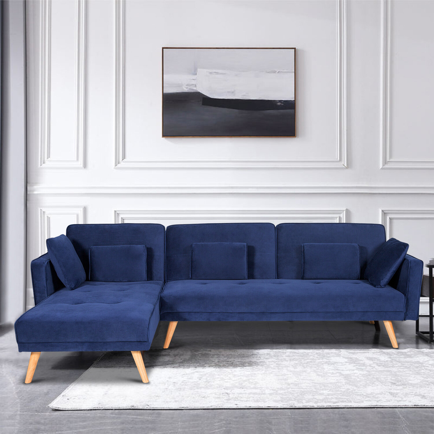Corrigan Studio 3 Person Sofa Sectional Couch Sofa For Living Room L Shaped Sofa Sleep Sofa Bed Convertible Sleeper Couch Bed Chaise Lounge 4 Seat Modern Mid Century Sofa Blue Wayfair Ca
