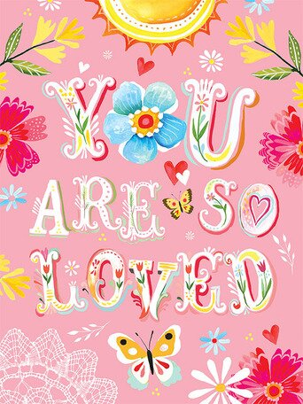 Floral You Are So Loved Canvas Art by Katie Daisy. Happy LOVE Day, Lovelies! Poetry, handlettered art, and colorful Valentine's Day finds await on Hello Lovely Studio!