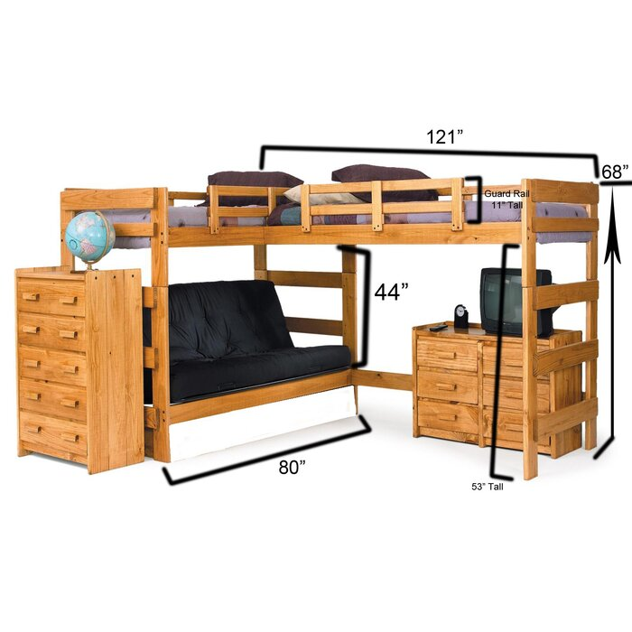 Chelsea Home Twin Over Full L Shaped Bunk Bed Reviews Wayfair Ca