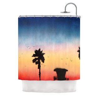 Carlsbad Sunset by Infinite Spray Art Coastal Painting Shower Curtain