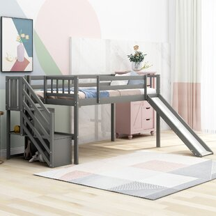 Permenter Twin Low Loft Bed with Shelve