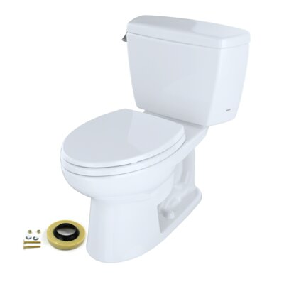 Toto Toto® Eco Drake® Two-Piece Elongated 1.28 Gpf Toilet With Toilet Seat, Wax Ring And Toilet Mounting Bolts