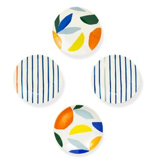 Citrus Twist Tidbit 4 Piece Melamine Dessert Plate Set (Set of 4)