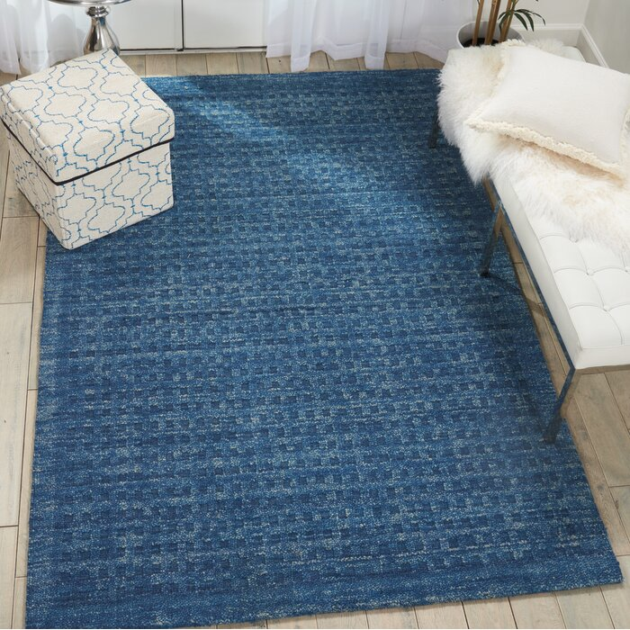 Dakoda Solid Hand Hooked Wool Navy Blue Area Rug