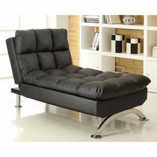 Middleville Leather Chaise Lounge by Orren Ellis