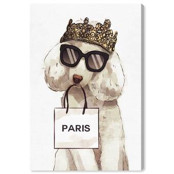 Art Remedy Dogs And Puppies Maltese Palm Glam Print On Wrapped Canvas Wayfair