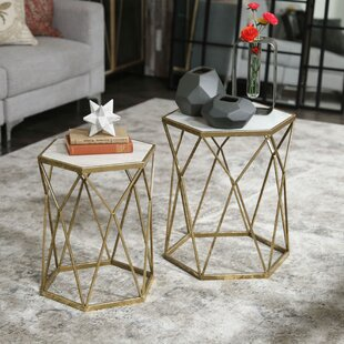 Melinda Metal Hexagon 2 Piece Nesting Tables
