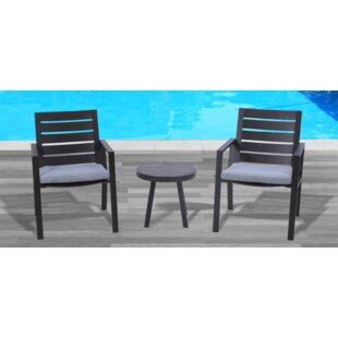 Moralez 3 Piece Bistro Set with Cushions by Williston Forge