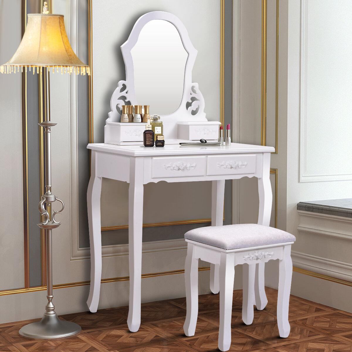 . Costway White Vanity Jewellery Wooden Makeup Dressing Table Set bathroom  W Stool Mirror   4 Drawer