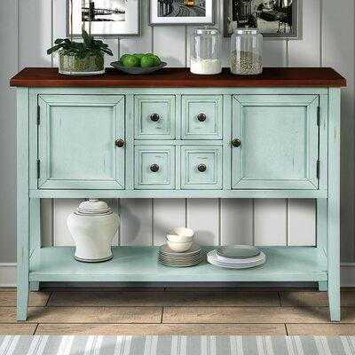 "Charlton Home Brissett 46"" Wide 4 Drawer Acacia Mangium Wood Sideboard  Color: Brown/Antique Blue"