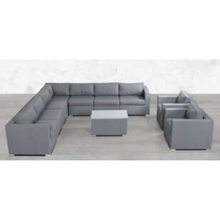Fuchs Modular L Shape 10 Piece Sectional Seating Group with Cushions