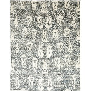 One-of-a-Kind Darion Hand-Knotted Wool Gray/White Indoor Area Rug Isabelline