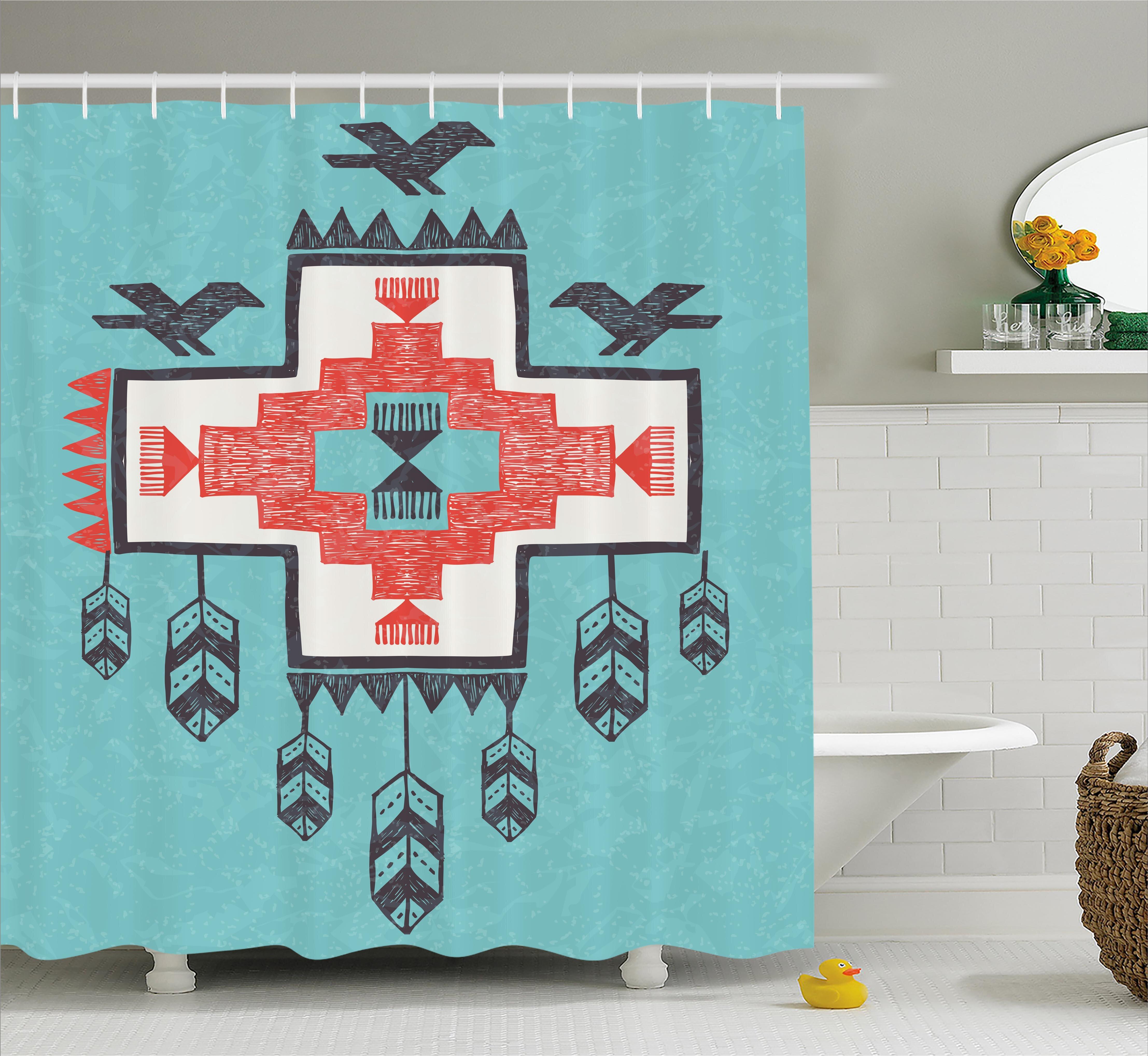 East Urban Home Icons Birds Native American Decor Shower Curtain