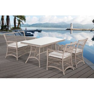One Allium Way Oliveira Wicker 4 Piece Dining Set with Cushions