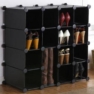 Interlocking 16-Compartment 16 Pair Shoe Rack