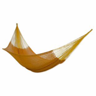 Double Person Pumpkin Sun Hand-Woven Mayan Artists Of The Yucatan Natural Cotton With Hanging Accessories Included Indoor And Outdoor Hammock by Novica Design
