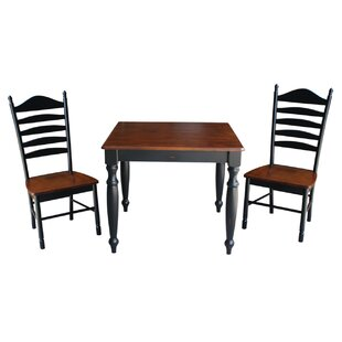 Henrietta 3 Piece Solid Wood Dining Set with Turned Legs August Grove
