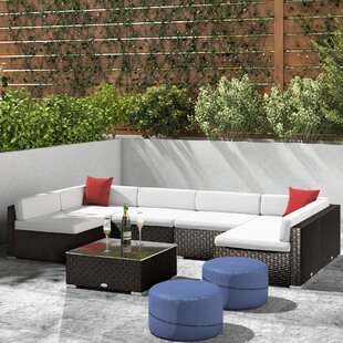 Mazie 7 Piece Rattan Sectional Seating Group with Cushions by Orren Ellis