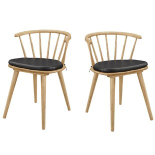 Minjares Windsor Dining Chairs Black And Danish Natural (Set Of 2) (Set Of 2) By Brayden Studio