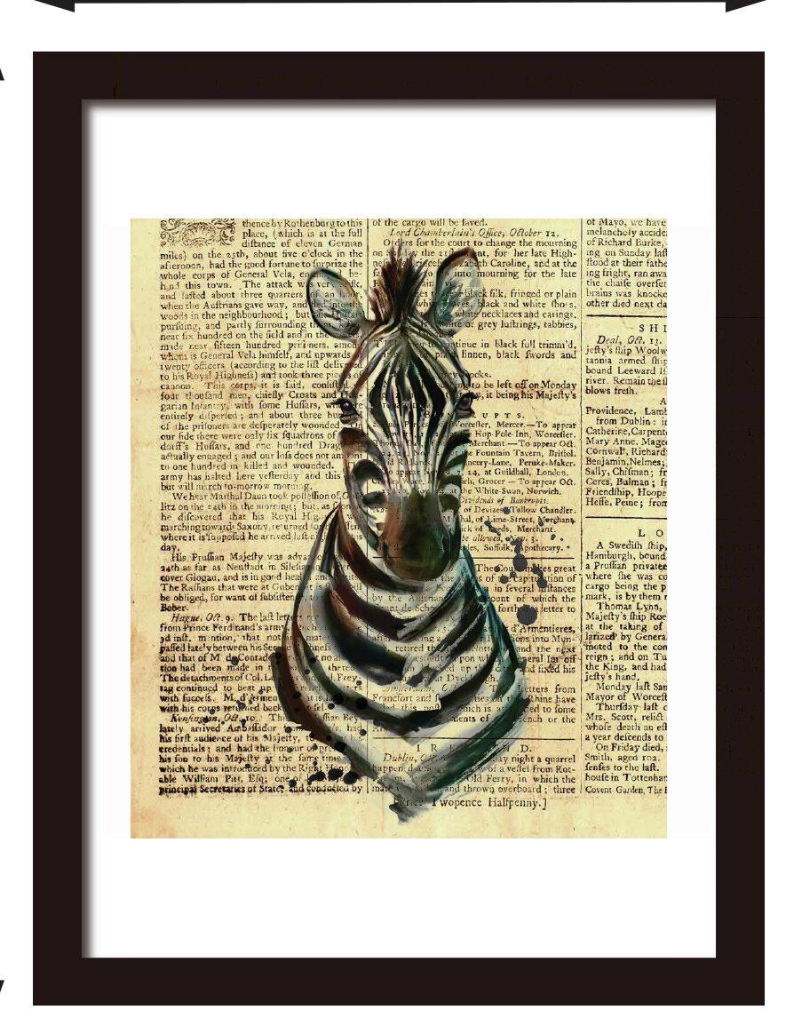 Bloomsbury Market Aransas Zebra Newspaper Animal Wall Decal | Wayfair
