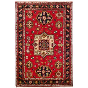 Lesa Hand-Knotted Wool Red Area Rug