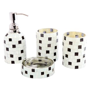 CITY LINE COLLECTION Contemporary Glass with Handwork 4 Piece Bathroom Accessory Set