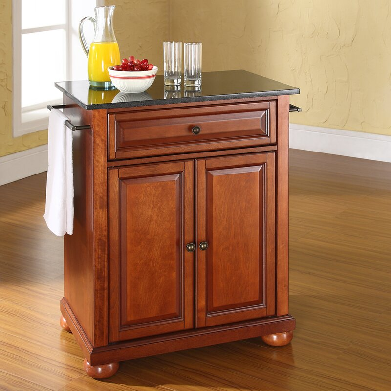 Darby Home Co Pottstown Solid Black Granite Top Portable Kitchen - Roll away kitchen island