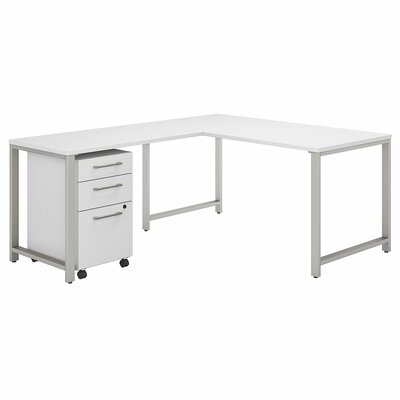 Bush Business Furniture 400 Series 3 Piece L-shaped Desk Office Suite Color: White